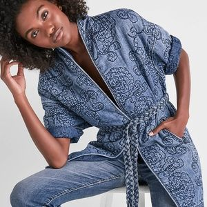 f23d560ac3 Lucky Brand Jackets   Coats - Lucky Brand floral quilted denim kimono